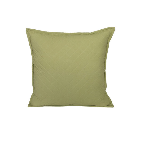 "Farmhouse Quilted Green Pillow 22"" x 22"""