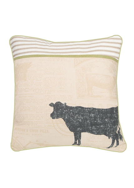 "Farmhouse Cow Pillow 18"" x 18"""