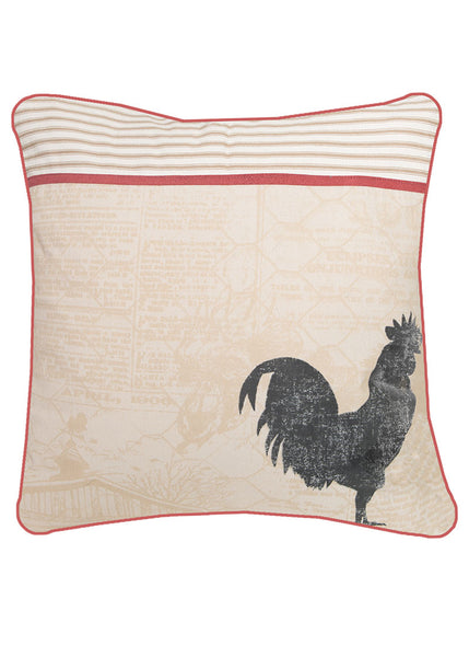"Farmhouse Rooster Pillow 18"" x 18"""