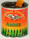 Product shot of General Finishes Amber Dye Stain in open pint can.