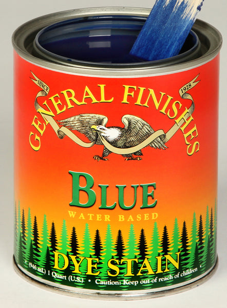 Product shot of General Finishes Blue Dye Stain in open pint can.