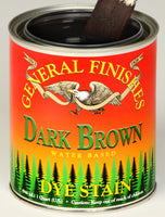 Product shot of General Finishes Dark Brown Dye Stain in open pint can.