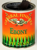 Product shot of General Finishes Ebony Dye Stain in open pint can.