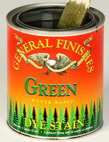 Product shot of General Finishes Green Dye Stain in open pint can.