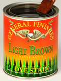 Product shot of General Finishes Light Brown Dye Stain in open pint can.