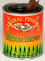 Product shot of General Finishes Medium Brown Dye Stain in open pint can.