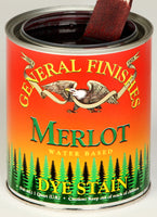 Product shot of General Finishes Merlot Dye Stain in open pint can.