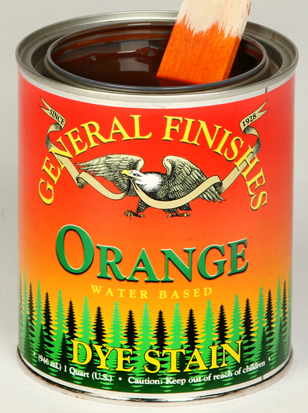 Product shot of General Finishes Orange Dye Stain in open pint can.