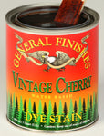 Product shot of General Finishes Vintage Cherry Dye Stain in open pint can.