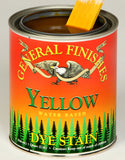 Product shot of General Finishes Yellow Dye Stain in open pint can.