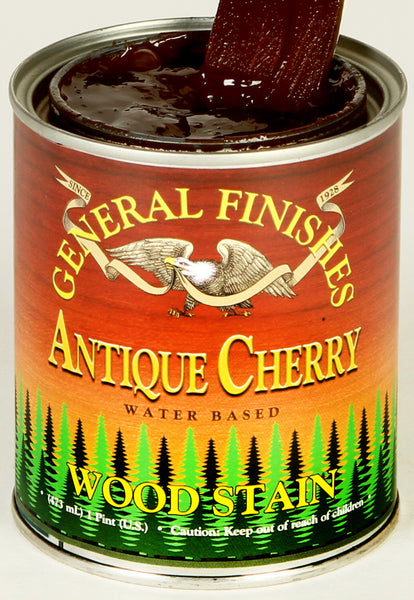 Product shot of General Finishes Antique Cherry Wood Stain in open pint can.