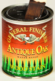 Product shot of General Finishes Antique Oak Wood Stain in open pint can.