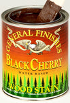 Product shot of General Finishes Black Cherry Wood Stain in open pint can.