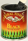 Product shot of General Finishes Black Wood Stain in open pint can.
