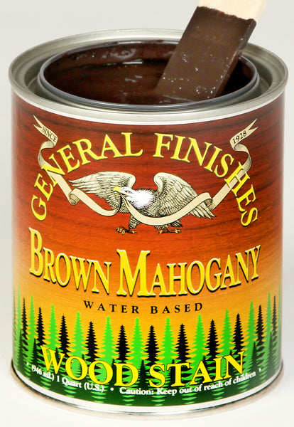 Product shot of General Finishes Brown Mahogany Wood Stain in open pint can.