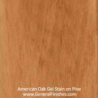 Product shot of General Finishes American Oak Gel Stain applied to raw pine.