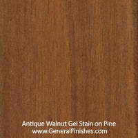 Product shot of General Finishes Antique Walnut Gel Stain applied to raw pine.