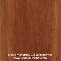 Product shot of General Finishes Gel Stain applied to raw pine.