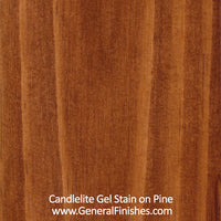 Product shot of General Finishes Candelite Gel Stain applied to raw pine.