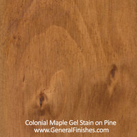 Product shot of General Finishes Colonial Maple Gel Stain applied to raw pine.