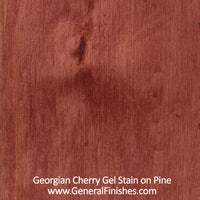 Product shot of General Finishes Georgian Cherry Gel Stain applied to raw pine.