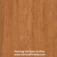 Product shot of General Finishes Nutmeg Gel Stain applied to raw pine.