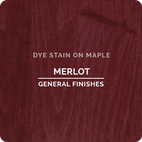 Product shot of General Finishes Merlot Dye Stain applied to raw maple.