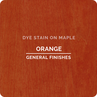 Product shot of General Finishes Orange Dye Stain applied to raw maple.