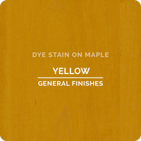 Product shot of General Finishes Yellow Dye Stain applied to raw maple.