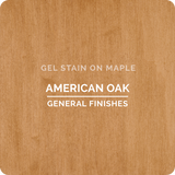 Product shot of General Finishes American Oak Gel Stain applied to raw maple.