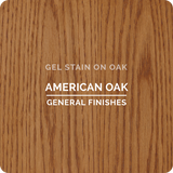 Product shot of General Finishes American Oak Gel Stain applied to raw oak.