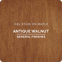 Product shot of General Finishes Antique Walnut Gel Stain applied to raw maple.