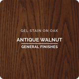 Product shot of General Finishes Antique Walnut Gel Stain applied to raw oak.