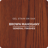 Product shot of General Finishes Brown Mahogany Gel Stain applied to raw oak.