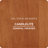 Product shot of General Finishes Candelite Gel Stain applied to raw maple.
