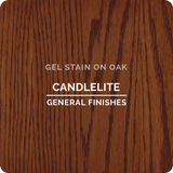 Product shot of General Finishes Candelite Gel Stain applied to raw oak.