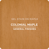 Product shot of General Finishes Colonial Maple Gel Stain applied to raw maple.