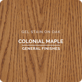 Product shot of General Finishes Colonial Maple Gel Stain applied to raw oak.