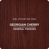 Product shot of General Finishes Georgian Cherry Gel Stain applied to raw oak.
