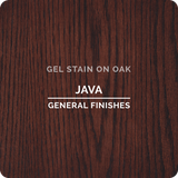 Product shot of General Finishes Java Gel Stain applied to raw oak.