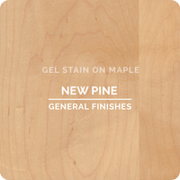Product shot of General Finishes New Pine Gel Stain applied to raw maple.