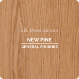 Product shot of General Finishes New Pine Gel Stain applied to raw oak.