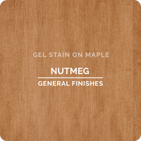 Product shot of General Finishes Nutmeg Gel Stain applied to raw maple.