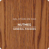 Product shot of General Finishes Nutmeg Gel Stain applied to raw oak.