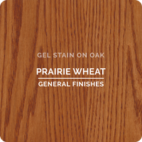 Product shot of General Finishes Prairie Wheat Gel Stain applied to raw oak.