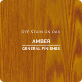 Product shot of General Finishes Amber Dye Stain applied to raw oak.