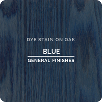 Product shot of General Finishes Blue Dye Stain applied to raw oak.