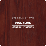 Product shot of General Finishes Cinnamon Dye Stain applied to raw oak.