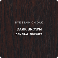 Product shot of General Finishes Dark Brown Dye Stain applied to raw oak.