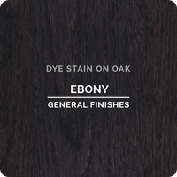 Product shot of General Finishes Ebony Dye Stain applied to raw oak.